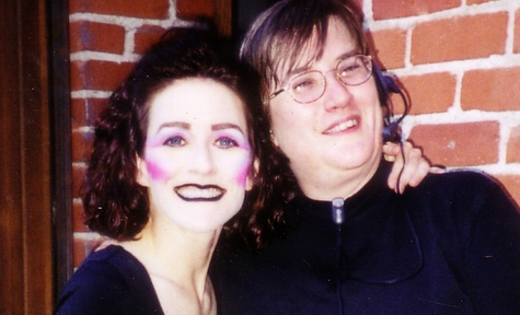 """the author in full makeup with stage manager from """"The Berlin Circle"""""""