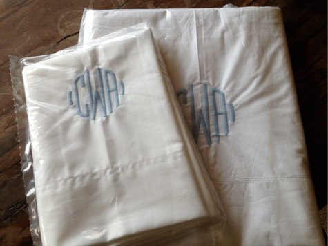monogrammed sheets and pillowcases